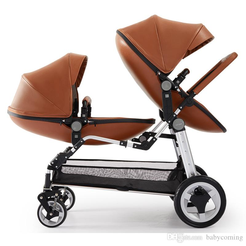 PU Leather Twins Stroller /Baby Pram, Fast Folding Double Baby Stroller, Front & Rear 2 Seat Children Trolley