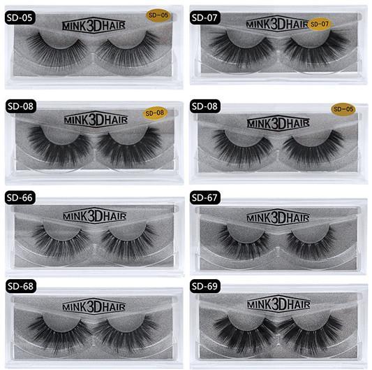 24 hours shipping !!! 20 style 3d mink Eyelash 100% Thick real mink HAIR false eyelash natural Extension fake Eyelash