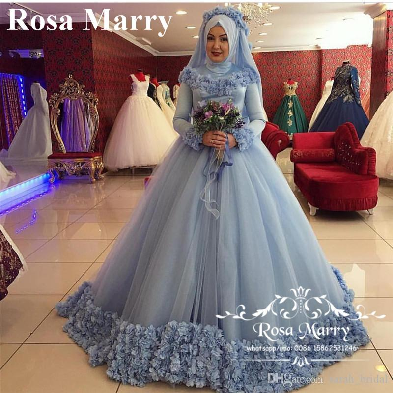 Prenses 3D-Çiçek İslami Başörtüsü Gelinlik 2020 Yüksek Boyun Uzun Kollu Kış Abayas Kaftan Müslüman Dubai Gelinlikler Vestido De Novia