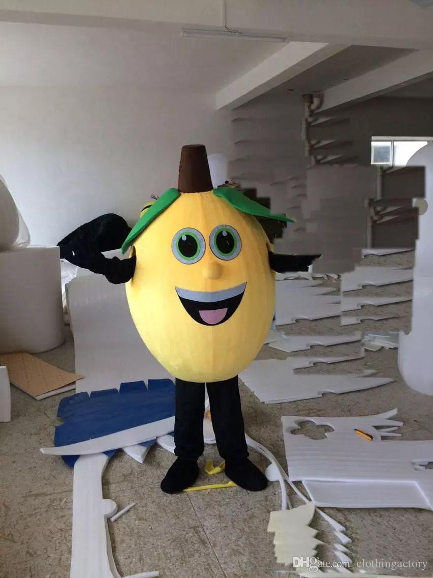 2018 haute qualité Taille Adulte Mignon Jaune Citron Costume De Mascotte Furit Costume De Citron De Noël Fête D'anniversaire Fantaisie Robe