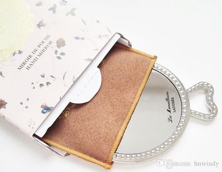 Laduree Les Merveilleuses miroir taşıma çantası perakende paketi ile de poche el aynası vintage metal tutucu cep kozmetik Makyaj aynası