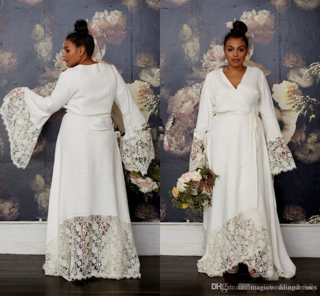 Discount Plus Size Hippie Wedding Dresses With Long Bell Sleeve 2019 Modest  Lace Floral V Neck Vintage Bohemian Country Garden Bridal Wedding Gown