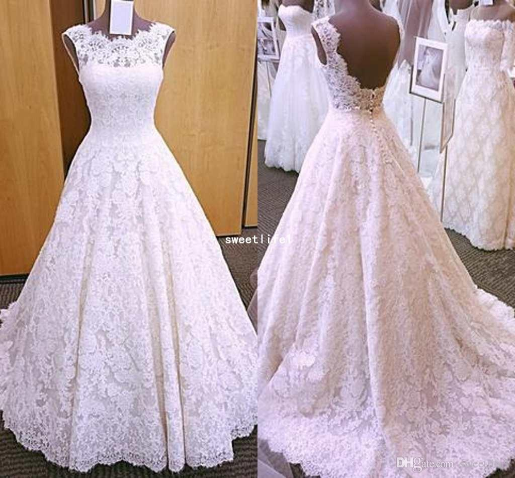 Discount Wedding Dresses 2019 Vintage Cap Sleeves Open Back Lace A Line Brush Train Cover Button Full Lace Bridal Gown Vesdios Mermaid Wedding Dress