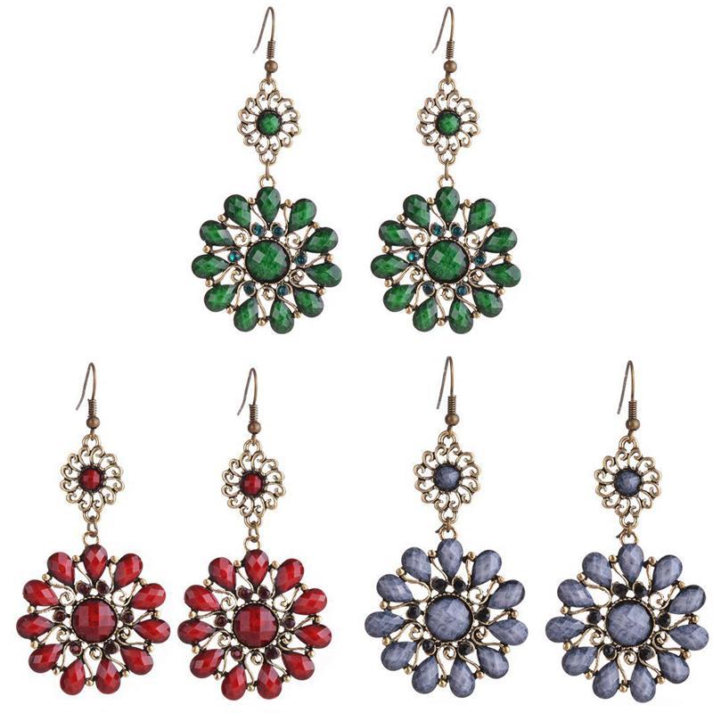 exaggerated flower shaped ear jewelry Bohemia water drops jewellery earrings wholesale