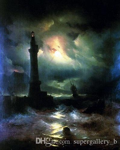 Neopolitan Lighthouse Russian Seascape Ocean Painting Real pintado a mano HD impresión paisaje pintura al óleo sobre lienzo Multi tamaño l101