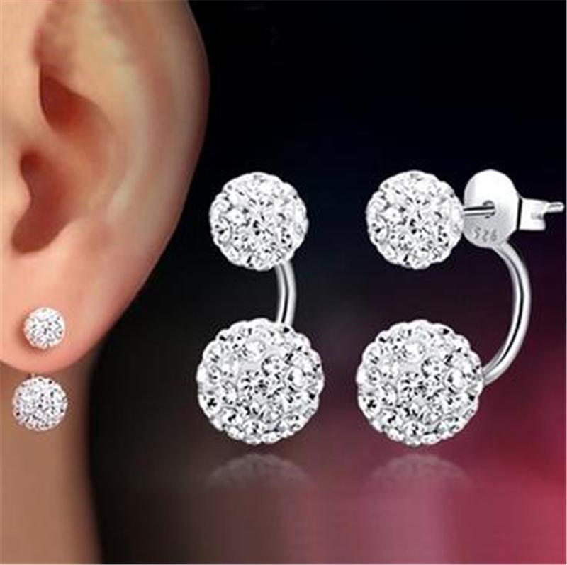 Double sided Shambala Ball Stud Earrings Diamond Crystal disco beads Earings 925 Silver plated fine Jewelry for women girls KKA1795
