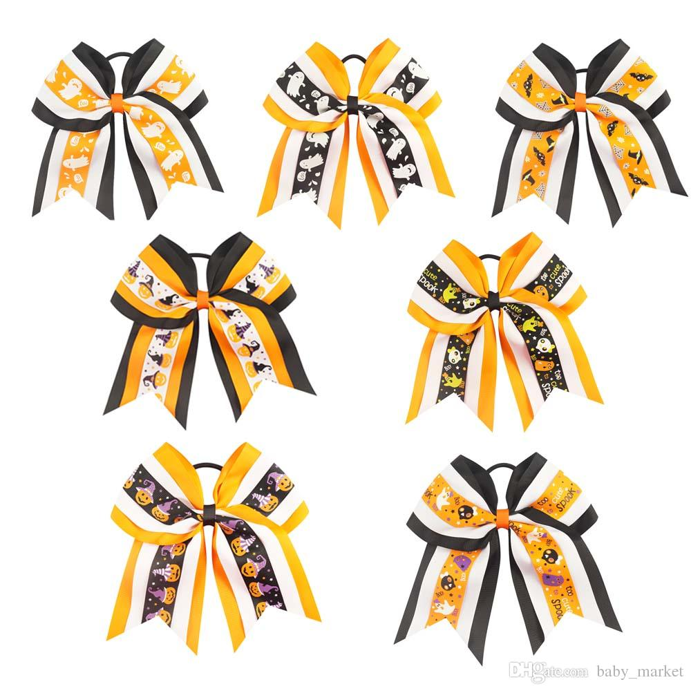 10PCS/LOT 7 Inch Halloween Cheer Bows Cartoon Boutique Hair Bows With Elastic Bands For Girls Handmade Hair Accessories