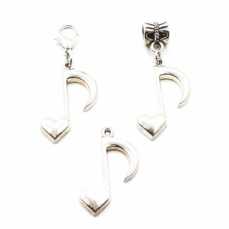 50pcs wholesale silberne musikalische Anmerkung, die hängende Baumelncharme-Hummerschlange Charme-passende Diy Armband-Halsketten-hängende Schmucksache-Zusatz hängt