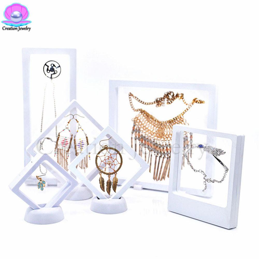 3d الأبيض العائمة عرض المجوهرات الإطار الاكريليك عالية الجودة أسود شفاف قلادة أقراط ديسبالي تقف ل أدوات ديسباليينج