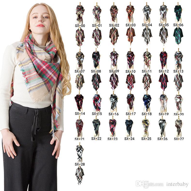 Scarf For Women Wraps Triangle Warm Scarf Plaid Blanket Cashmere Womens Scarf Woman