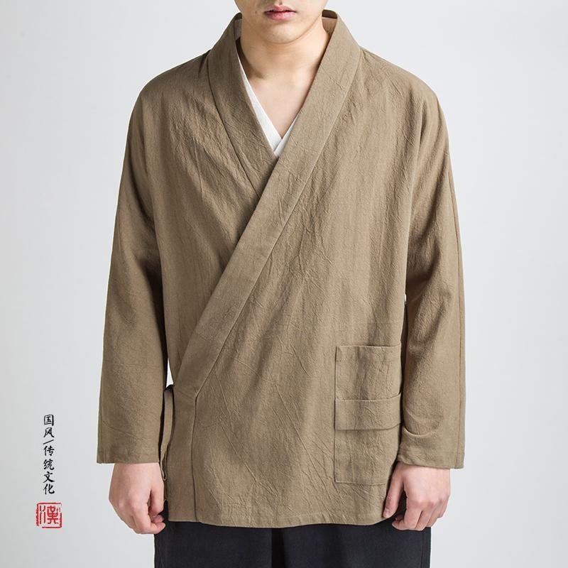 MIXCUBIC 2018 Herbst chinesischen Stil einfache String Leinen Jacken Männer beiläufige lose Wäsche Tang Anzug Männer, M-4XL