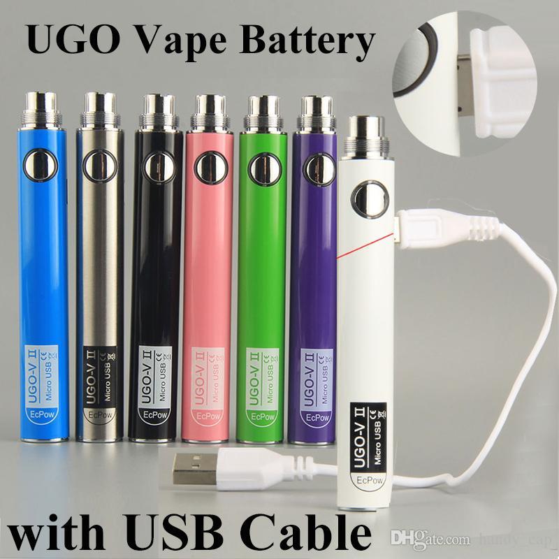 UGO-V II Vape Battery 510 بطاريات التسخين المسبق للسجائر الإلكترونية evod 650 900 مللي أمبير في الساعة مع كابل مايكرو USB مناسب لخراطيش بخار EGo