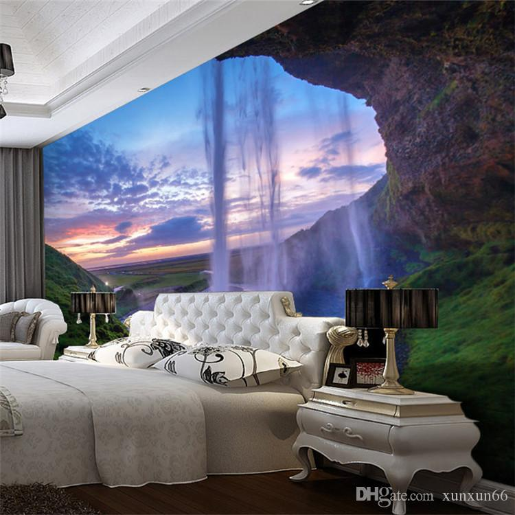 3D Wallpaper Beautiful Sunset Waterfall Photo Wall Mural Living Room Dining  Room Backdrop Wall Paper Modern Home Decor Frescoes Free Animated Desktop  ...