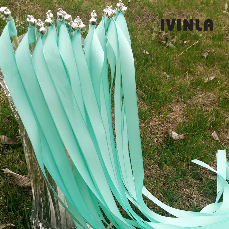 Il nastro di cerimonia nuziale verde di vendita caldo 50pcs / lot lega con le campane del nastro per la festa nuziale