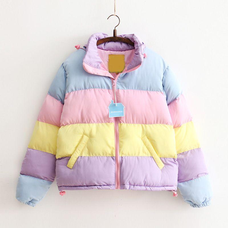 Зима Новый Жакет Радуга Сращивание Цвет Пастель Группа Puffer пальто для женщин вся продажа бесплатная доставка
