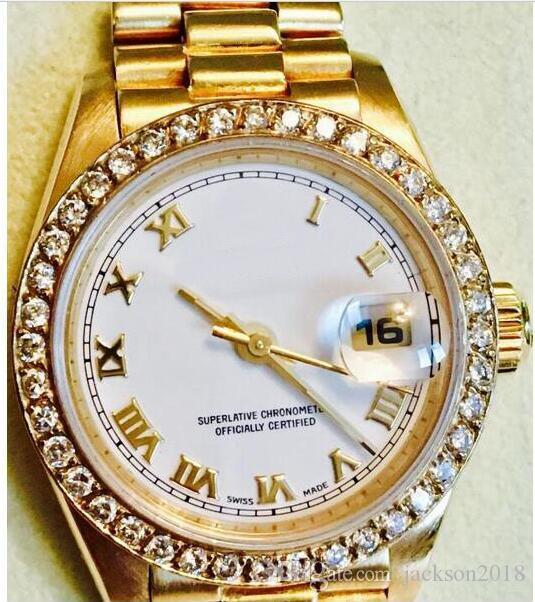 Горячие продажи 69178 Часы Леди Качество Роскошные Женщины 26 мм Золотые Стальные Часы 18КТ Автоматический Браслет Часы Top Klvhs