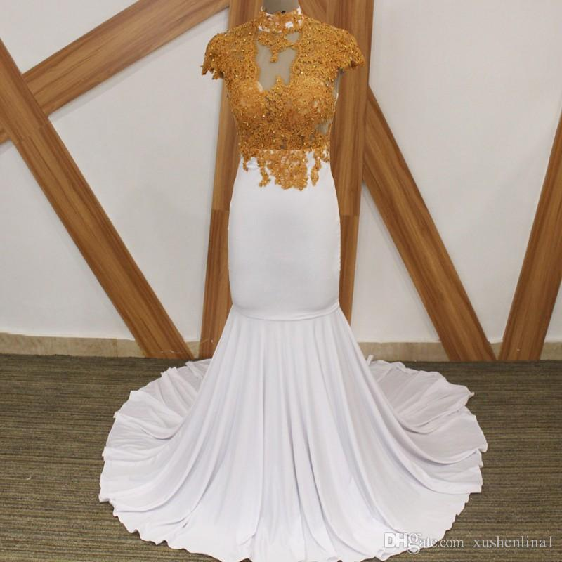 White Mermaid Evening Dress With Gold Lace 2018 Beaded Appliques High Neck Sweep Train Satin Long Prom Gowns Cheap Custom Made Dress