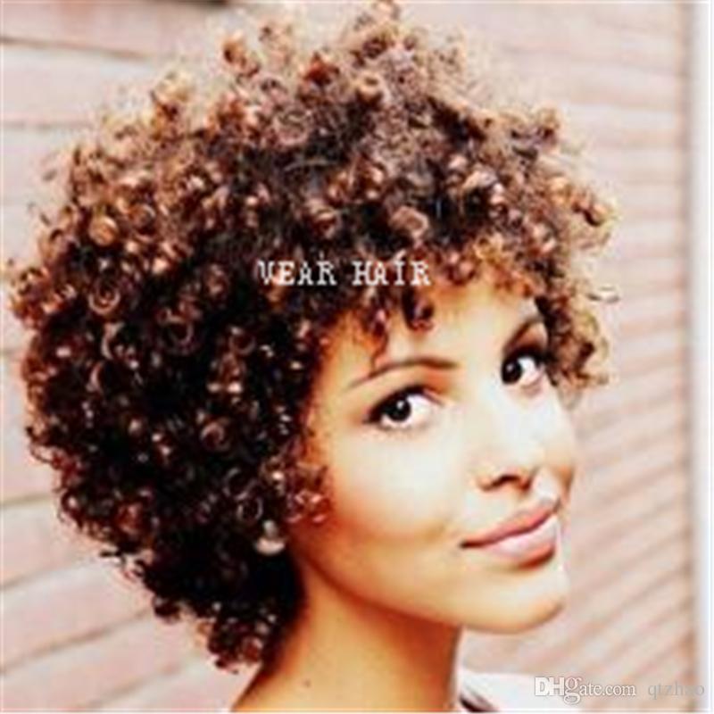 Parrucche corta capelli umani per le donne nere Parrucca anteriore ondulata riccia ondulata in pizzo Parrucche anteriori in pizzo brasiliano con i capelli del bambino