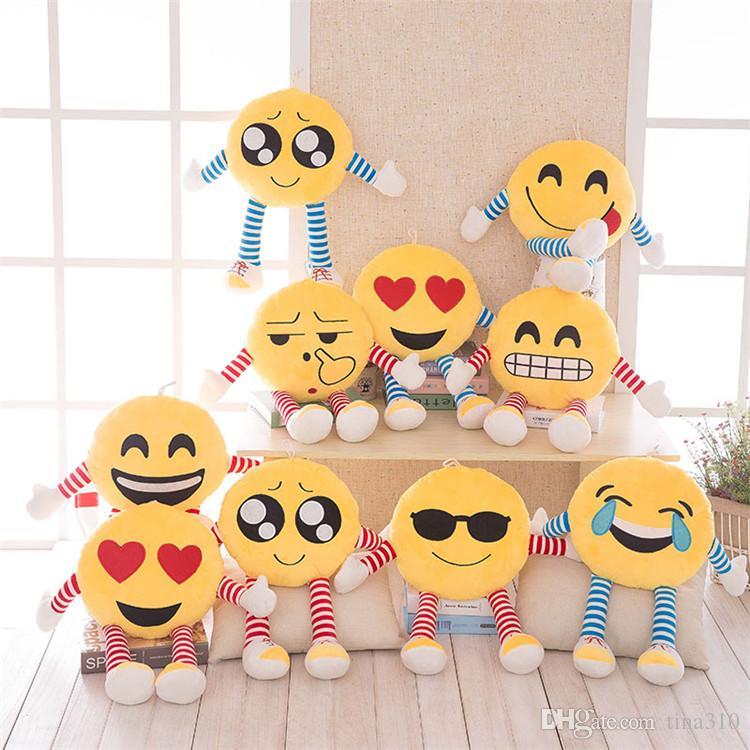 Cuscini Emoticon.Acquista Hot 50 Cm Stili Morbidi Emoticon Emoticon Cuscino Rotondo