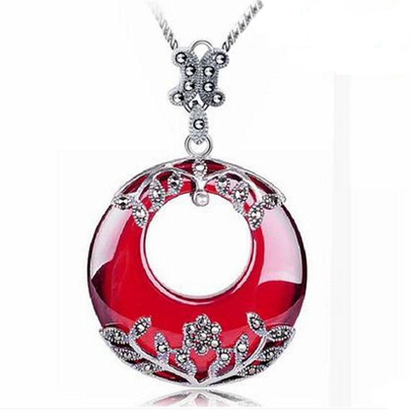925 чистого серебра ожерелье, аксессуары, тайский серебряный кулон, антикварные ювелирные изделия, натуральный нефрит, новые серебряные украшения.