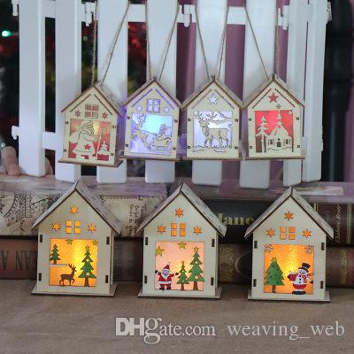 LED деревянный дом рождественская елка украшения висячие украшения дома освещенный праздник хороший рождественский подарок свадебные украшения