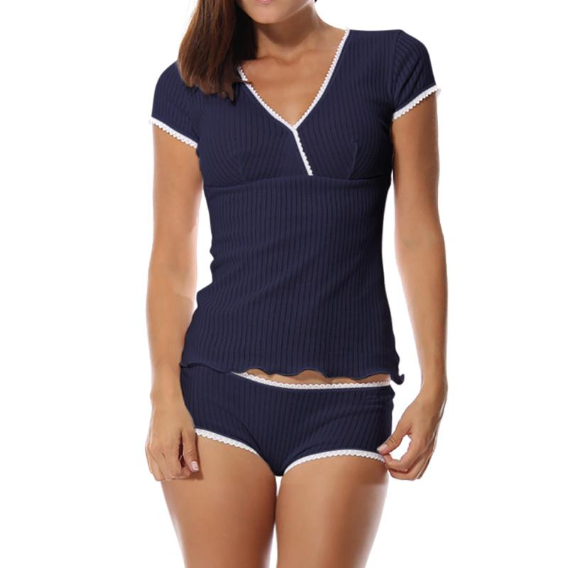 Kalvonfu الساخن المرأة مشروط تي شيرت السراويل داخلية قصيرة الأكمام منامة رداء مجموعة جديدة النوم t-shirt sleeplounge