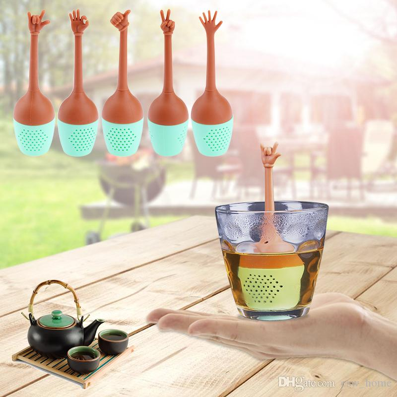 Жесты руки чай фильтр FDA класса силиконовые вкладыши травяные специи держатель чай пивоварения инструменты чай Infuser ситечко