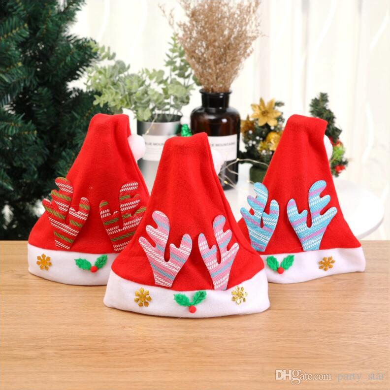 New Style Kids Free Size Elk Antlers Christmas Hat Children Christmas Party Hat Decorations Party Caps Prop