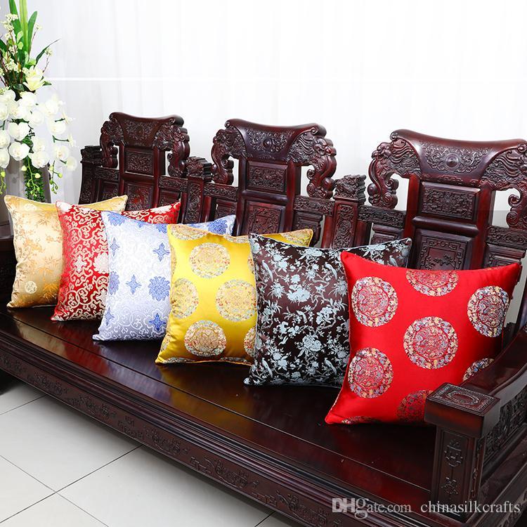 كبير زهرة الرجعية الصينية الحرير غطاء وسادة عيد أريكة كرسي سيارة العرقية الوسائد ديكور المنزل الحرير قطني وسادة تغطي