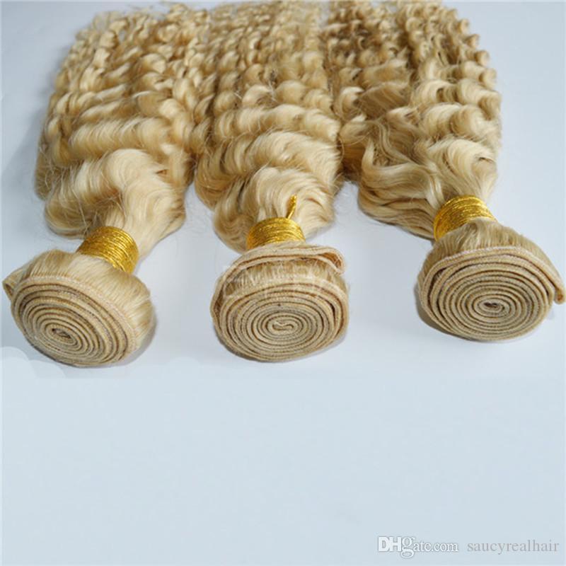 Fashional Color Blonde 613 Głębokie Wave Ludzkie Wiązki Włosów 100% Nieprzetworzone Brazylijski Remy Hair 100g Pkt 3 Wiązki Lot, Drop Shipping