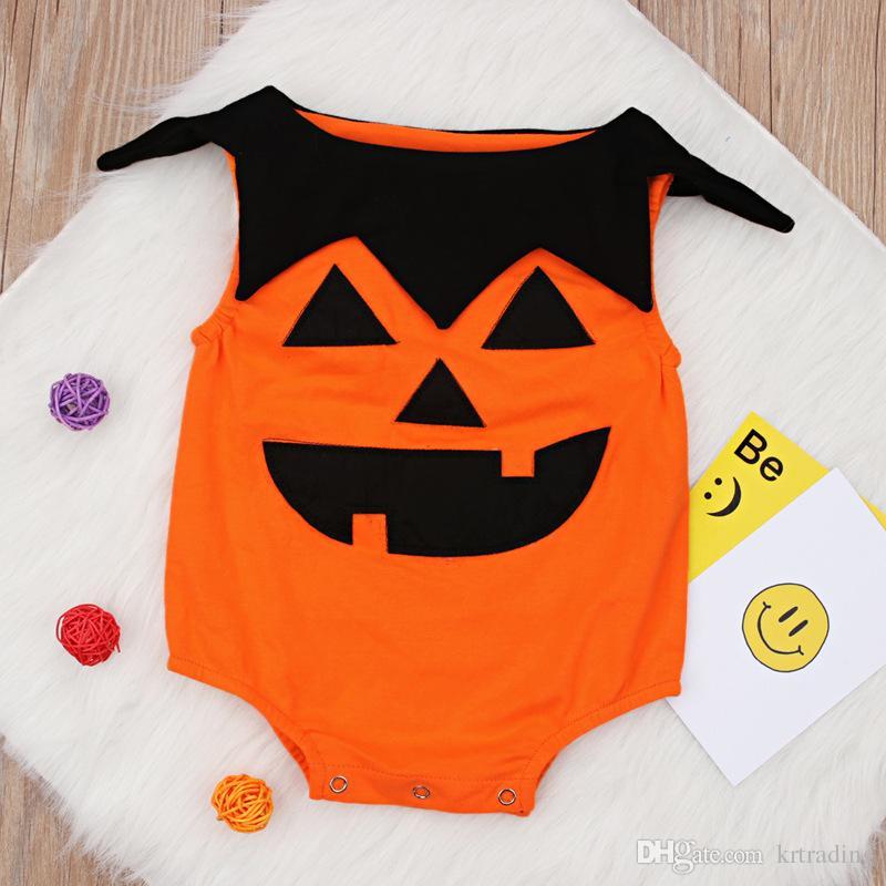 Baby pattern Halloween Pumpkin pagliaccetto 0-1T piccoli carino zucca arancione senza maniche vestiti cosplay pagliaccetto Holloween