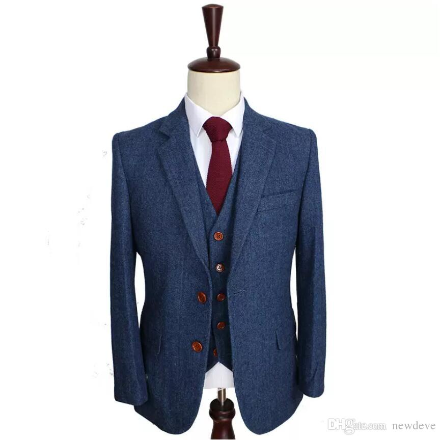 Wool Blue Wedding Tuxedos Herringbone Retro Gentleman Style Customized Men's Suits Tailor Suit Blazer Suits for Men (Jacket+Pants+Vest)