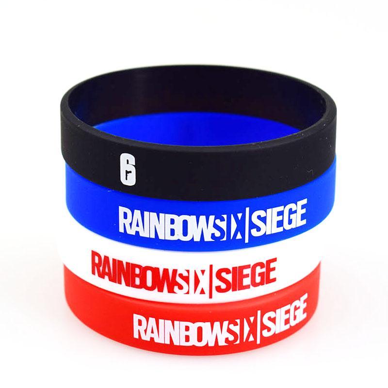 Bracelet en Silicone Rainbow Six Siege Noir bleu Blanc Rouge Caoutchouc de Silicone Gymnase Fitness Bandes Énergie Bracelets Pour Hommes Femmes