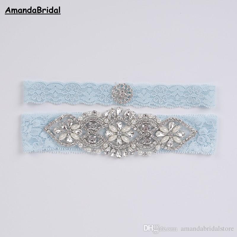 Amandabridal Womens Wedding Accessories Garter Hand Beaded Sky