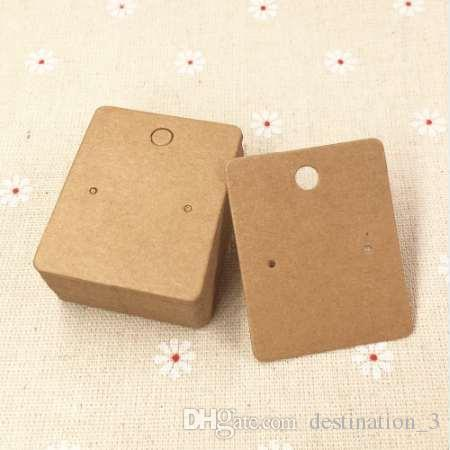 200 teile / los 5 * 4 cm Kraftpapier Ohrring Karten Leere Schmuck Verpackung Karten Braun Ohrring Display Karten Schmuck Preis Tags