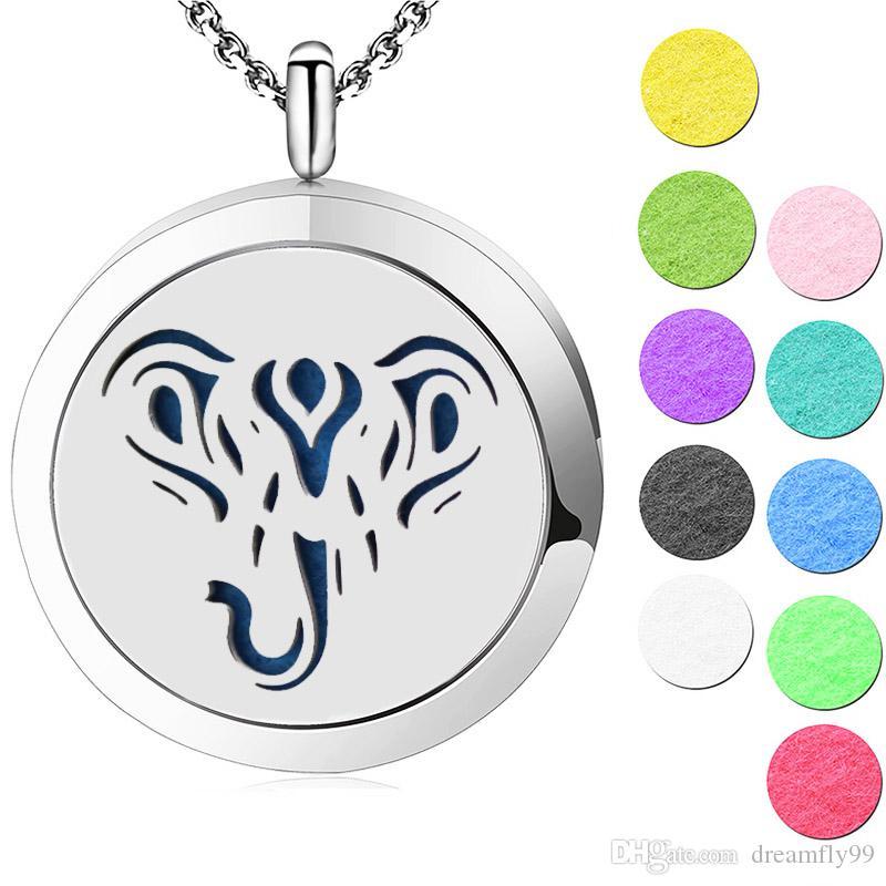 Jóias de prata Bonito Elefante Aromaterapia Óleo Essencial cirúrgico Aço Inoxidável Perfume Difusor Medalhão Colar com corrente e almofadas