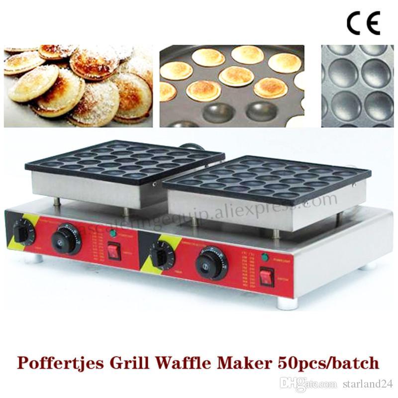Double machine à crêpes avec machine à crêpes avec machine à gaufres à casserole antiadhésive Pan Poffertjes avec 50 moules