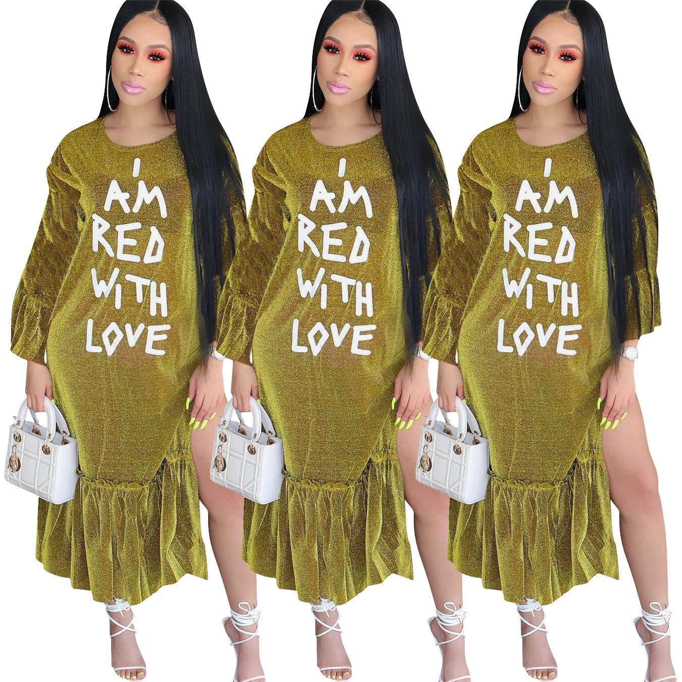 Vestiti delle donne Longuette abbigliamento africano Maniche lunghe Stampa di lettere Il lato della foglia di loto Vestire Nuovo stile