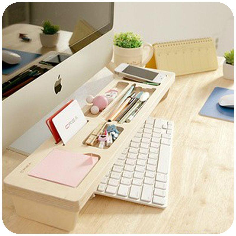 Fashion Wooden Desktop Organizer Keyboard Storage Box Personalized Office Sundries/Stationery Desk Organizer