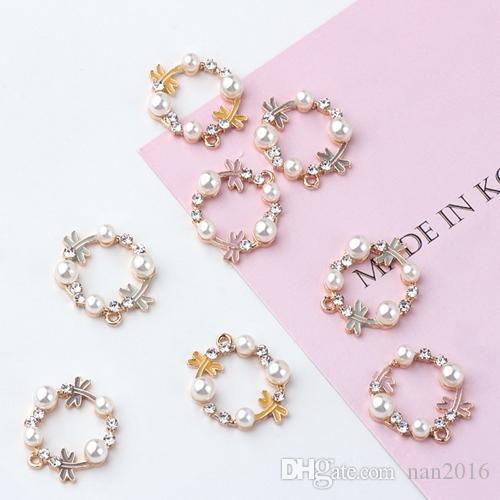 20PCS, Enameled dragonfly flower pearl charm , earring bracelet necklace handmade findings, jewelry findings