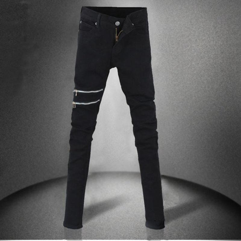 Herbst neue Männer schwarze Super-Röhrenjeans wenig Stretchy elastische Slim Fit Bleistift Hosen mit Reißverschluss für Männer