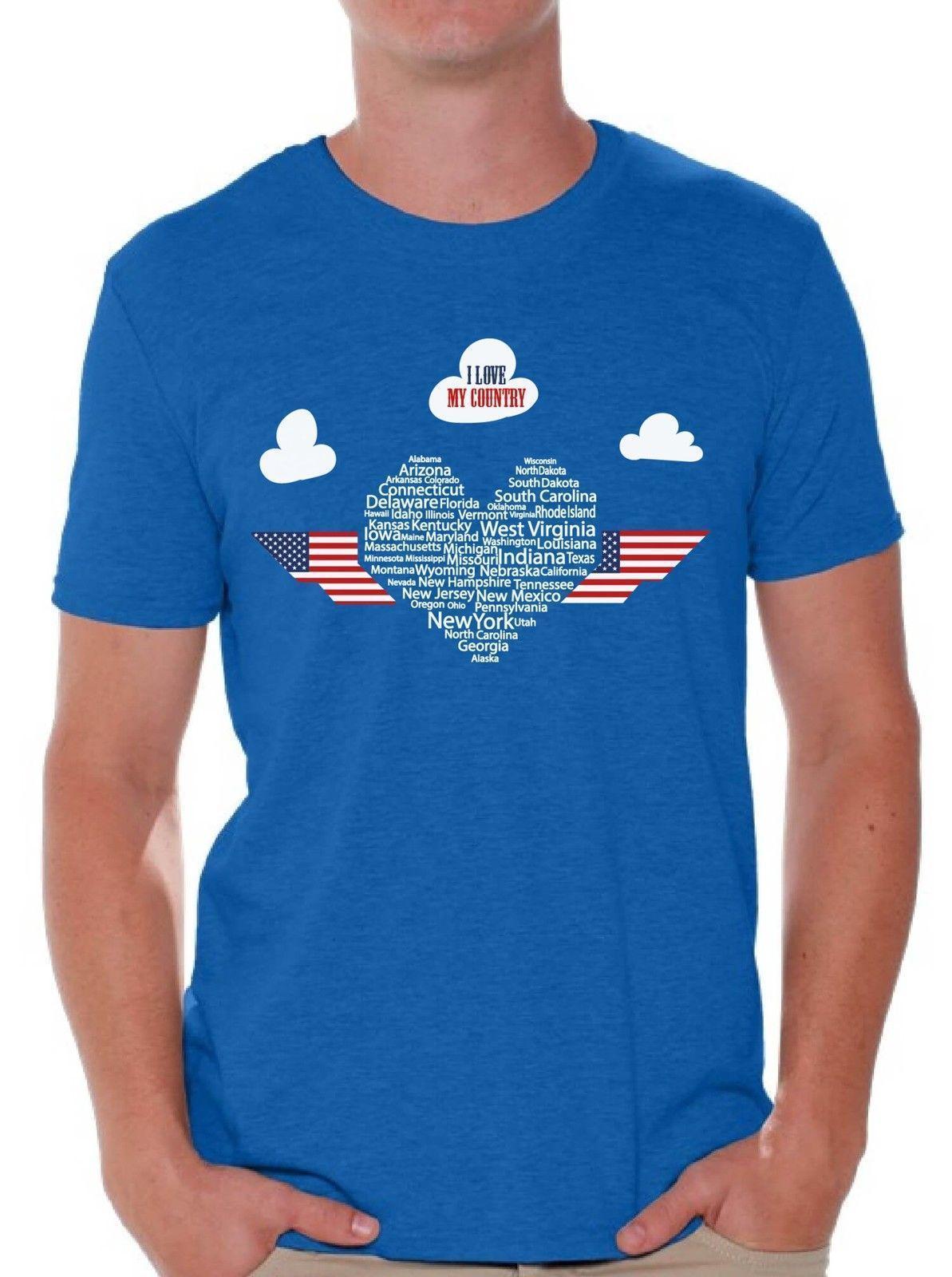 64d79a6d8 Compre Eu Amo A Camisa Do T Dos Homens Do Meu País Cobre A Bandeira Do  Coração Dos EUA Patriótica De Yubin1