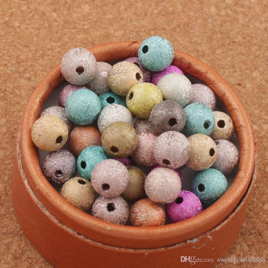 800pcslot Mixte Coloré Stardust Perles rondes 8mm Hot Sell Sell Acrylique En stock Acrylique, Plastique, Lucite Lock Perles L3042