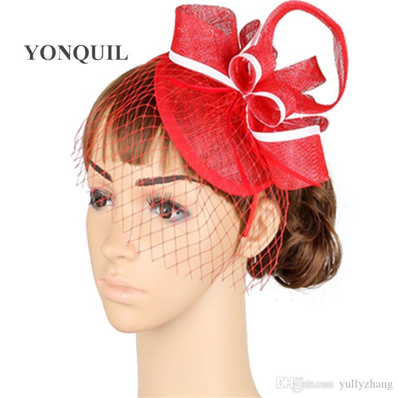 Free ship 16 colors avaliable sinamay fascinators wedding accessories bridal veil party hats bridal fascinators 6Pcs/lot MYQ013