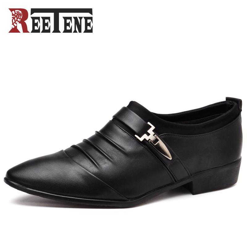 Hombres de Reetene zapatos de vestir de moda zapatos de boda formales para hombre de lujo de los hombres de negocios casual clásico caballero zapatos hombre hommes