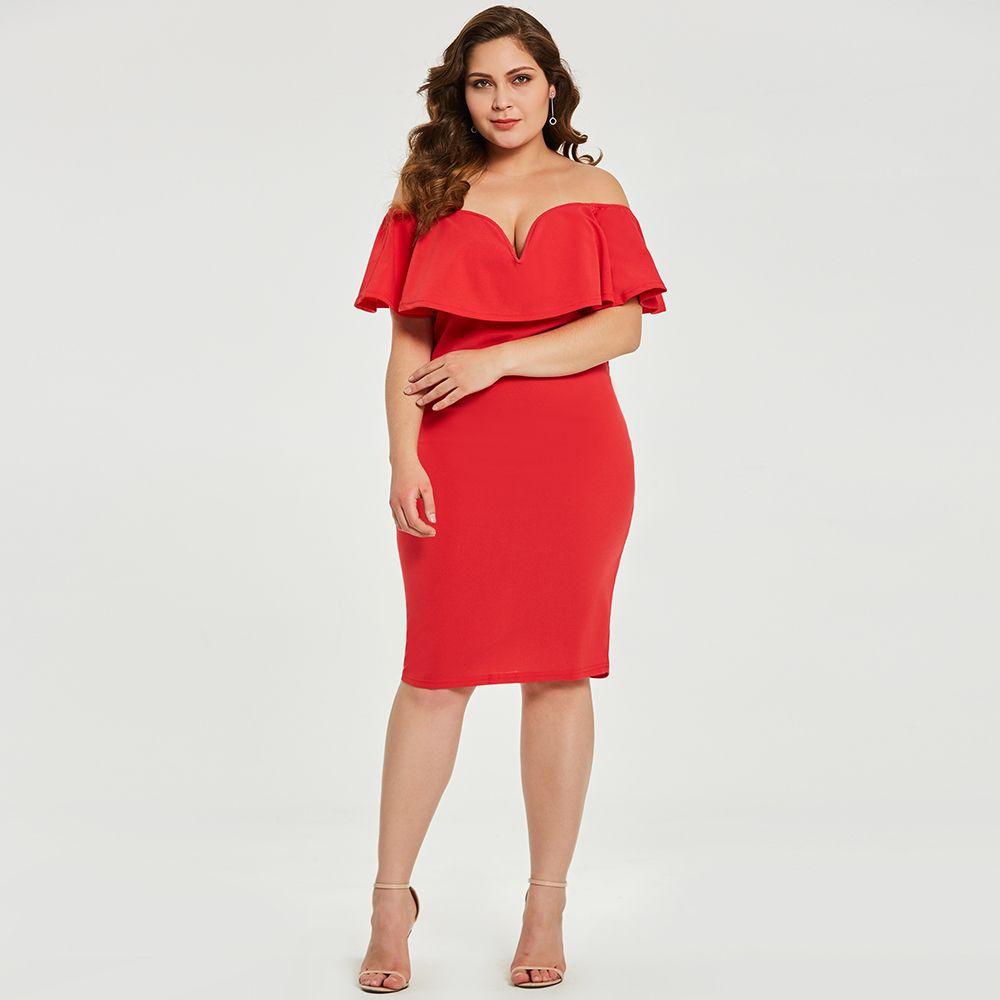 2019 2018 New Hot Plus Size Dresses Vestidos Off The Shoulder Deep V Neck  Short Sleeve Ruffles Sheath Luxury Female Dresses Vestidos Big Size From ...