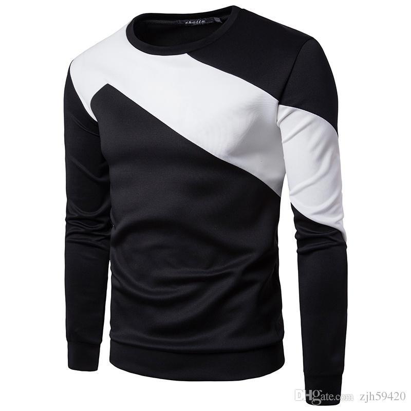 Men T-Shirt Long Sleeve Solid V-Neck Slim Fit Leisure Fashion Spring Tops Shirts
