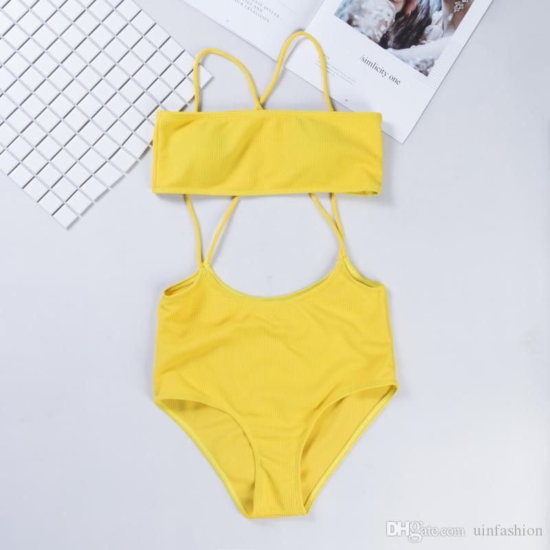 Seksowna wysoka talia bikini zestaw stroje kąpielowe kobiety strój kąpielowy push up spaghetti paski kantarowy kostium kąpielowy solidny plażowy biquini
