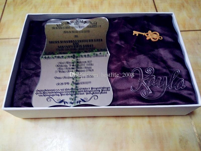 Silberner Acrylspiegel fertigte Hochzeitseinladungen mit schwarzem Text, freie Umschläge besonders an (weißer Kasten nicht eingeschlossen) (L165mmxB114mmxT2mm) BL-181027