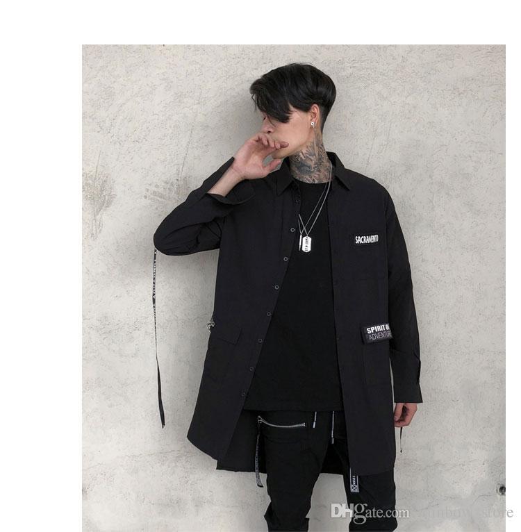 Лента лоскутное черная мужская рубашка нерегулярные хип-хоп длинные рубашки человек ночной клуб harajuku DJ певец сценический костюм старинные блузки